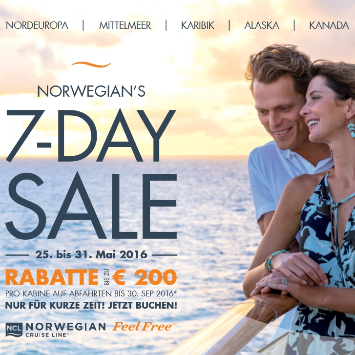 NORWEGIAN's 7-DAY SALE effective 25May2016